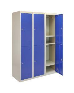 3 Taquillas para Ensamblar con 2 Puertas Azules de Acero para Escuela y Gimnasio