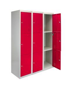 3 Taquillas con 3 Puertas Rojas de Acero para Escuelas, Gimnasios y Vestuarios