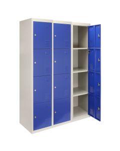 3 Taquillas con 4 Puertas Azules de Acero para Escuelas, Gimnasios y Vestuarios