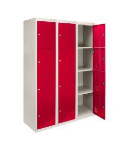 3 x 4-türiger Schließfachschrank Spind - Rot flachverpackt