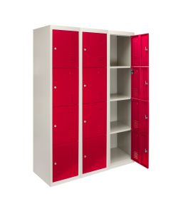 3 Taquillas con 4 Puertas Rojas de Acero para Escuelas, Gimnasios y Vestuarios