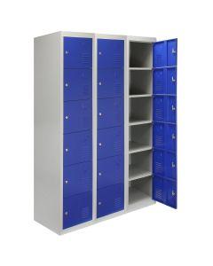 3 Taquillas con 6 Puertas Azules de Acero para Escuelas, Gimnasios y Vestuarios