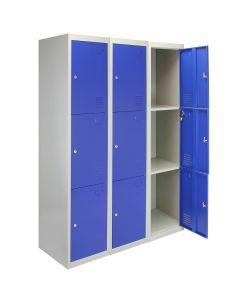 3 x Casiers Rangement Acier - Trois Portes, Bleu
