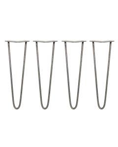 4 x 40.5cm Hairpin Tischbeine 2 Streben - 10mm - Rohstahl