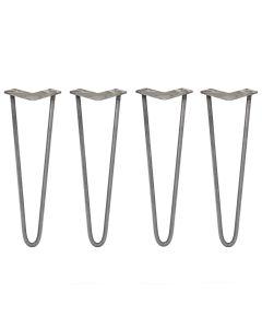 4 x 40.5cm Hairpin Tischbeine 2 Streben - 12mm - Rohstahl