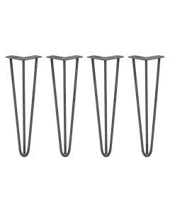 4 x 40.5cm Hairpin Tischbeine 3 Streben - 10mm - Rohstahl