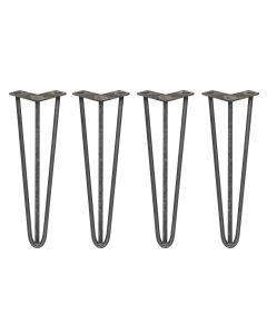 4 x 40.5cm Hairpin Tischbeine 3 Streben - 12mm - Rohstahl