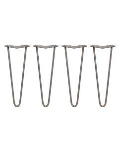4 x 35.5cm Hairpin Tischbeine 2 Streben - 10mm - Rohstahl