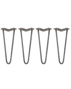 4 x 35,5cm Pinpoten - 2 Ledig - 12mm - Ruw Staal