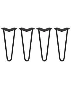4 x 30.5cm Pinpoten - 2 Ledig - 12mm - Zwart