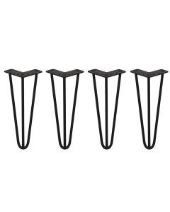 4 x 30.5 cm hairpin tafelpoten - 3 ledig - 10 mm - Zwart