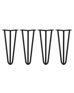 4 Gambe per Tavolo a Forcina 30,5cm 3 Rebbi in Acciaio Nero Spessore 12mm