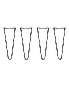 Tafelpoten: 4 x 30.5cm Pinpoten - 2 Ledig - 10mm - Ruw Staal
