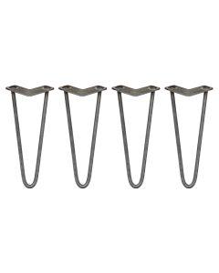 4 x 30.5cm Pinpoten - 2 Ledig - 12mm - Ruw Staal