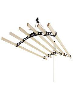 Tendedero de Techo con Sistema de Polea y 6 Listones de 1,8m en Negro