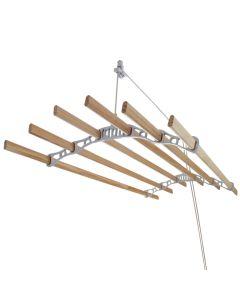 Tendedero de Techo con Sistema de Polea y 6 Listones de 1,4m en Blanco