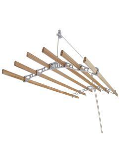 Tendedero de Techo con Sistema de Polea y 6 Listones de 1,5m en Blanco