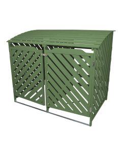 Doble Cobertizo Contenedor de Basura Madera Verde Salvia Almacenamiento Exterior