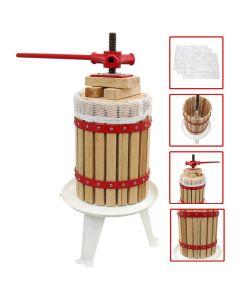 6L Prensa de Fruta Vino Sidra Jugo Extractor Manual de Madera y Acero