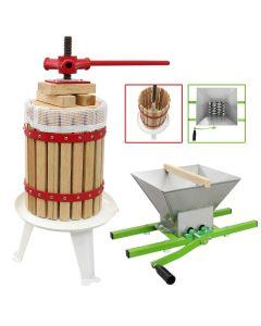 Prensa 18L y Trituradora de Frutas de 7L Manual Jugo Extractor Exprimidor Citricos Zumo con Manivela