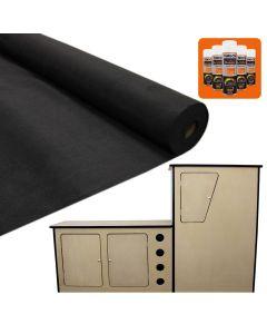 11 m2 Forro de Alfombra de Furgoneta /Negro con Adhesivo y Cocina para Autocaravana DM