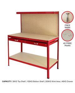 Werkbank mit Stecktafel und Schublade Rot