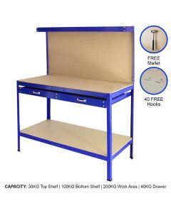 Werkbank mit Stecktafel und Schublade Blau