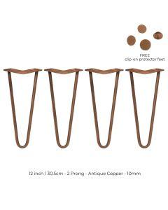 4 x 30.5 cm Hairpin Tafelpoten - Antiek Koper - 2 Ledig - 10 mm