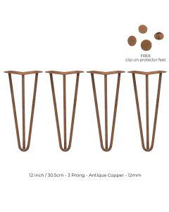 4 x 30.5 cm Hairpin Tafelpoten - Antiek Koper - 3 Ledig - 12 mm