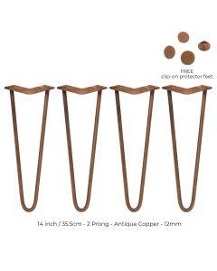 4 x 35.5 cm Hairpin Tafelpoten - Antiek Koper - 2 Ledig - 12 mm