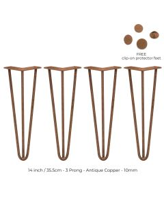 4 x 35.5 cm Hairpin Tafelpoten - Antiek Koper - 3 Ledig - 10 mm