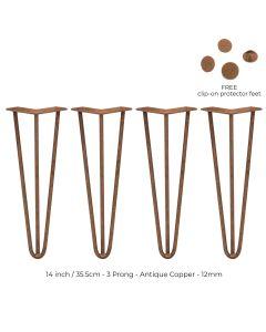 4 x 35.5 cm Hairpin Tafelpoten - Antiek Koper - 3 Ledig - 12 mm