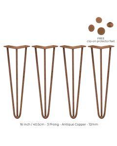 4 Pieds de Table en Epingle à Cheveux - 40,6cm - 3 Tiges - 12mm - Cuivre