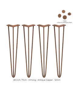 4 Pieds de Table en Epingle à Cheveux - 71cm- 3 Tiges - 12mm - Cuivre