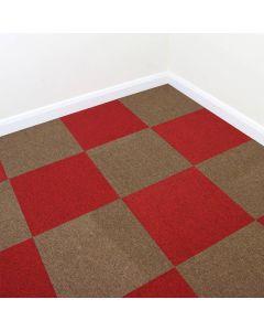 40 x Tapijttegels - Rood en Zand kleur- 50x50cm 10m2