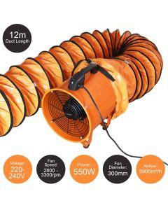 MAXBLAST Professionele Ventilator 550W 300 Ø + 12 m slang