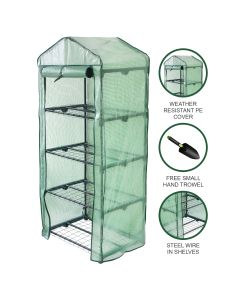 Invernadero 4 Niveles Cubierta PE Estantes Pequeños de Plástico Casa de Cultivo Jardín al Aire Libre | MonsterShop