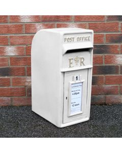 Royal Mail Buzón de Correos Blanco Pilar de Hierro Fundido Buzón de Correos para Cartas Montaje para Pared Postal