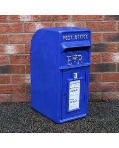 Royal Mail Buzón de Correos Azul Pilar de Hierro Fundido Buzón de Correos para Cartas Montaje para Pared Postal