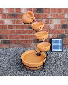 Fuente de Agua Terracota con Energía Solar Jardín Cascada Patio Escalonado