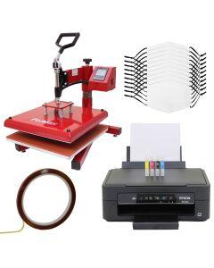 Kit per Sublimazione Pressa a Caldo Basculante - 38x38 & Stampante a Cartucce & 10 Mascherine