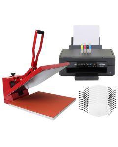 Kit per Sublimazione Pressa a Caldo - 38x38 & Stampante a Cartucce & 10 Mascherine