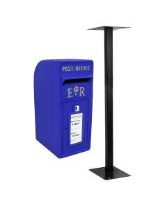 Buzón Royal Mail Azul Escocés Soporte de Suelo de Hierro Fundido y Montaje de Pared