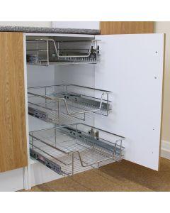 3 x KuKoo Ausziehbare Edelstahl Küchenkörbe 400mm breit