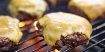 Cheese burger on the barbecue