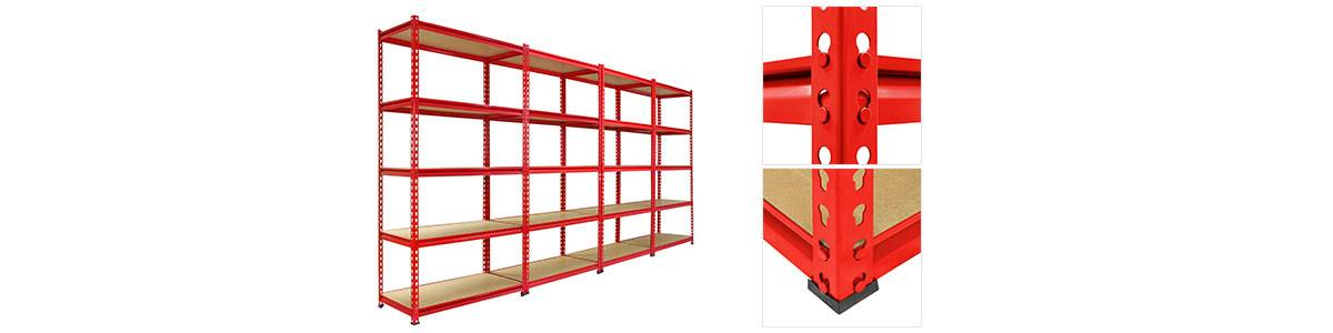 Z-Rax Red Garage Shelving 3 Bays and Connectors