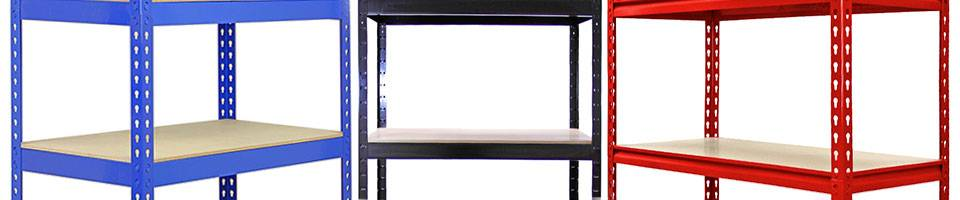 Q-Rax T-Rax Z-Rax Storage Shelves and Garage Racking Units Blue Black Red